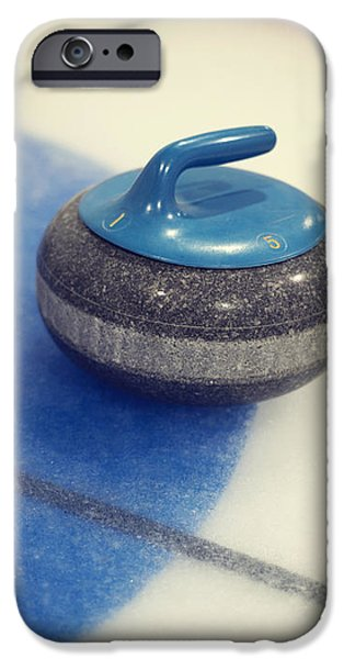 Team Sports iPhone Cases - Blue Curling Stone iPhone Case by Priska Wettstein