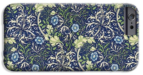 Fabric Tapestries - Textiles iPhone Cases - Blue Daisies Design iPhone Case by William Morris