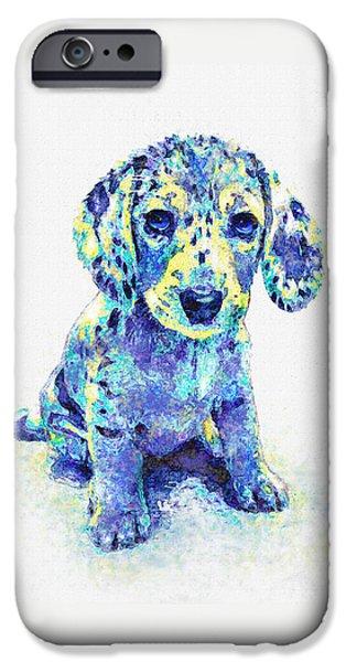 Dachshund Digital Art iPhone Cases - Blue Dapple Dachshund Puppy iPhone Case by Jane Schnetlage