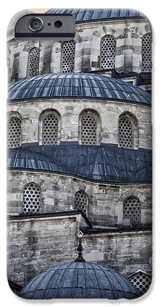 Religious iPhone Cases - Blue Dawn Blue Mosque iPhone Case by Joan Carroll