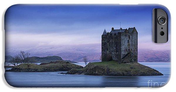 Colour Image iPhone Cases - Blue Dawn Castle Stalker Scotland iPhone Case by John Potter
