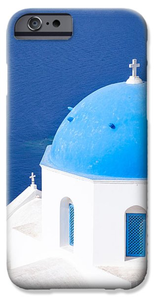 Greek Icon iPhone Cases - Blue domed church in Oia - Santorini - Greece iPhone Case by Matteo Colombo