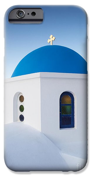 Greek Icon iPhone Cases - Blue domed church in Oia Santorini Greece iPhone Case by Matteo Colombo