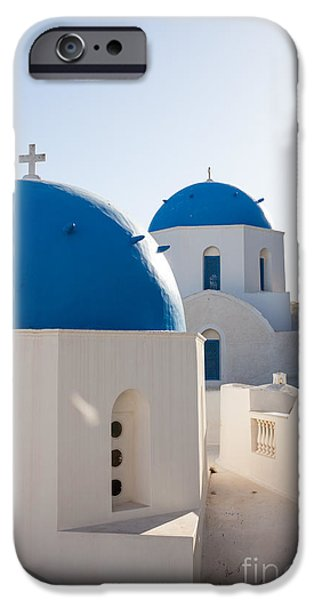 Greek Icon iPhone Cases - Blue domed churches of Oia - Santorini - Greece iPhone Case by Matteo Colombo