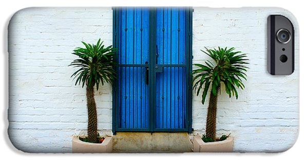 Facade iPhone Cases - Blue Door iPhone Case by Aged Pixel