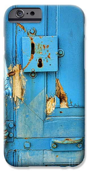Entrance Door Photographs iPhone Cases - Blue Door Blues iPhone Case by Olivier Le Queinec