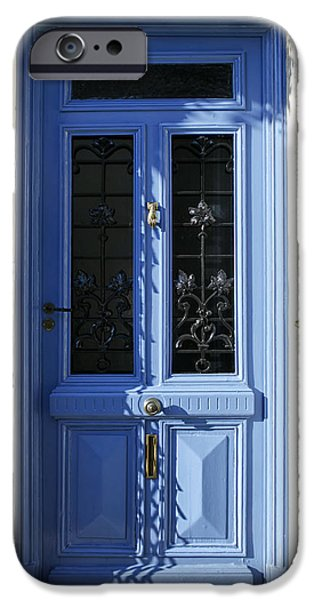 French Doors iPhone Cases - Blue Door with Dappled Sunlight iPhone Case by Nomad Art And  Design