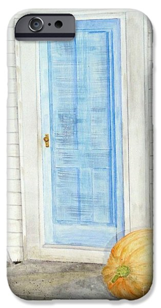 Facade Mixed Media iPhone Cases - Blue Door with Pumpkin iPhone Case by Barbie Corbett-Newmin