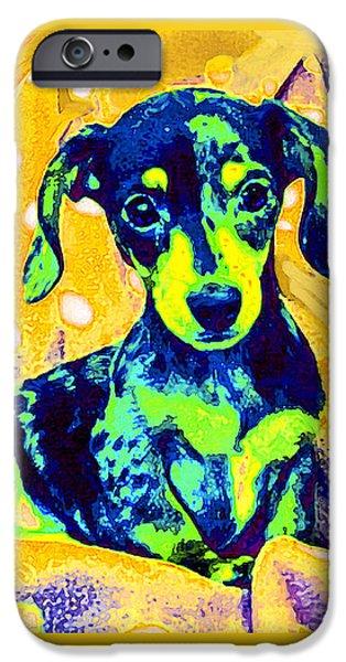 Dachshund Digital Art iPhone Cases - Blue Doxie iPhone Case by Jane Schnetlage