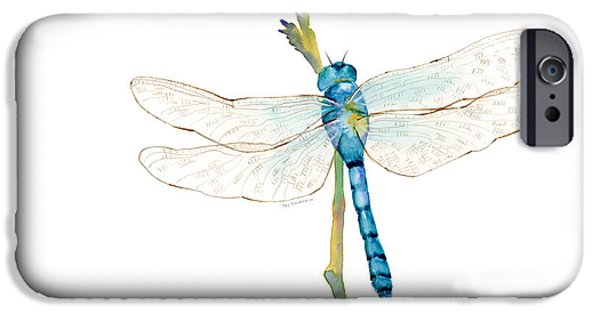 Dragonfly iPhone Cases - Blue Dragonfly iPhone Case by Amy Kirkpatrick