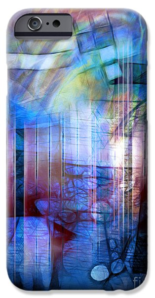 Best Sellers -  - Abstract Digital Mixed Media iPhone Cases - Blue Drama iPhone Case by Artwork Studio