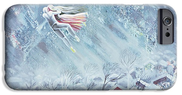 Snowy Night iPhone Cases - Blue Dream, 1983 Oil On Canvas iPhone Case by Radi Nedelchev