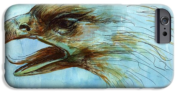 Watercolor With Pen Mixed Media iPhone Cases - Blue Eagle Influenced by Past Master iPhone Case by Victoria Stavish