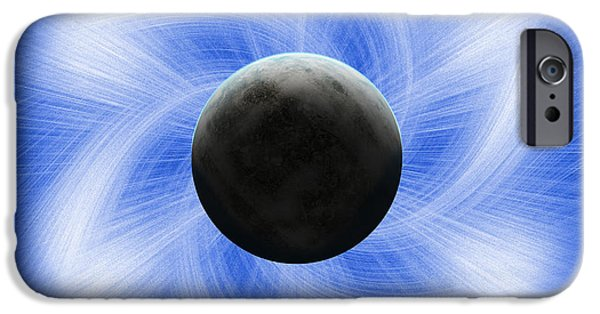 Solar Eclipse Digital iPhone Cases - Blue eclipse iPhone Case by Antony McAulay