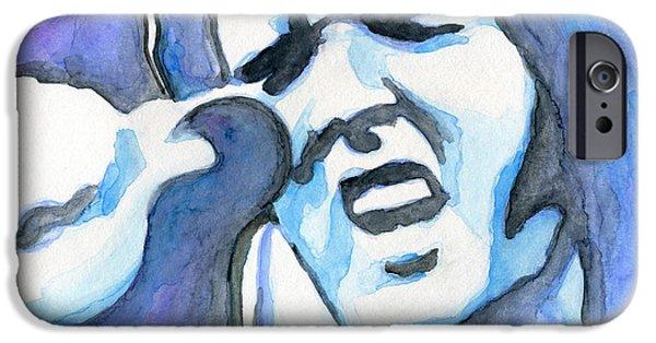 1950s Portraits Paintings iPhone Cases - Blue Elvis iPhone Case by Roz Abellera Art