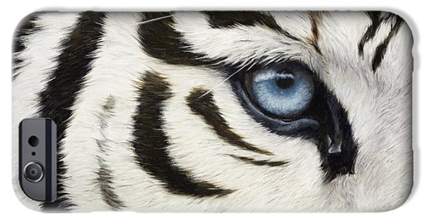 Close Paintings iPhone Cases - Blue Eye iPhone Case by Lucie Bilodeau