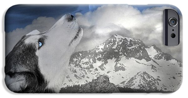 Best Sellers -  - Husky iPhone Cases - Blue Eyed and Moon iPhone Case by Stephanie Laird