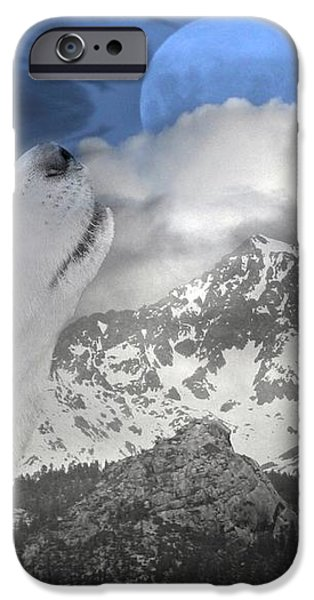Blue Eyed and Moon iPhone Case by Stephanie Laird