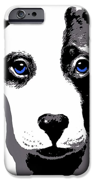 Recently Sold -  - Puppy Digital iPhone Cases - Blue Eyed Bully iPhone Case by Cindy Edwards