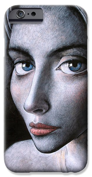 Realism iPhone Cases - Blue eyes iPhone Case by Ipalbus Art