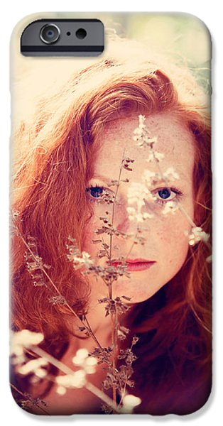 Red-haired Women iPhone Cases - Blue Eyes iPhone Case by Jenny Rainbow