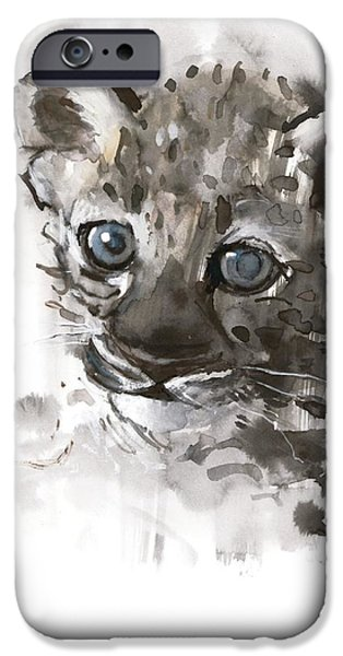 On Paper Paintings iPhone Cases - Blue Eyes iPhone Case by Mark Adlington