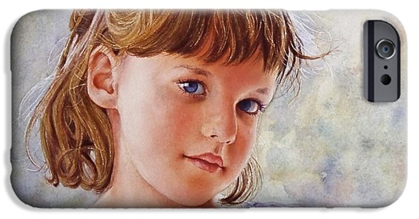 Young Paintings iPhone Cases - Blue Eyes iPhone Case by Victoria Lisi