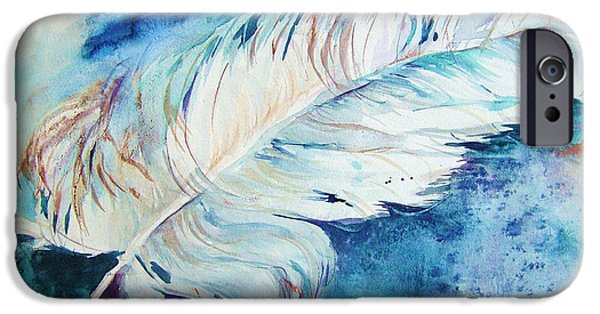 Blue Paintings iPhone Cases - Blue Feather iPhone Case by BJ Pinkston
