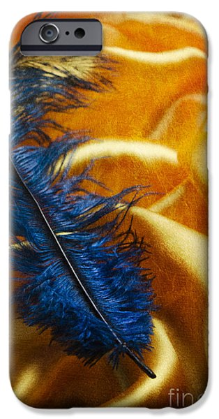 Time Pyrography iPhone Cases - Blue Feather iPhone Case by Jelena Jovanovic