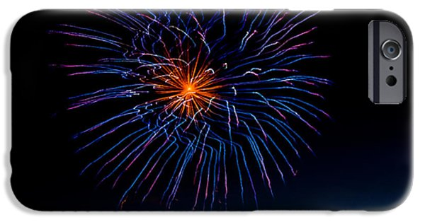 Blue Fireworks iPhone Cases - Blue Firework Flower iPhone Case by Robert Bales