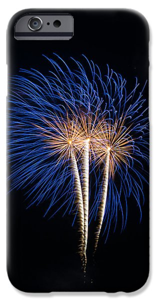 July 4th iPhone Cases - Blue fireworks iPhone Case by Paul Freidlund