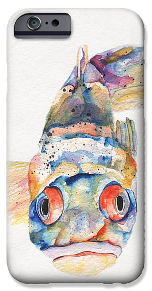 On Paper Paintings iPhone Cases - Blue Fish   iPhone Case by Pat Saunders-White