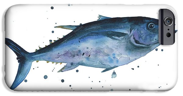 Tuna iPhone Cases - Blue Flash Tuna iPhone Case by Alison Fennell