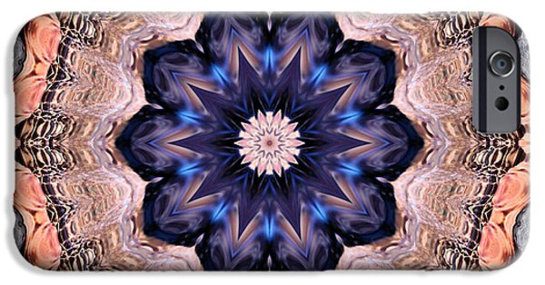 Mandala Photographs iPhone Cases - Blue Flora Mandala iPhone Case by Kristin Elmquist