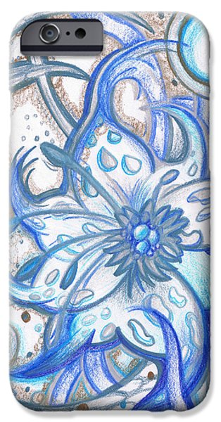 Monotone Drawings iPhone Cases - Blue Floral Design  iPhone Case by Laura Noel