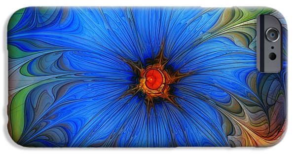 Abstract Flowers Images iPhone Cases - Blue Flower Dressed For Summer iPhone Case by Karin Kuhlmann