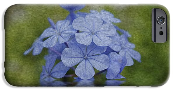 Meadow Digital Art iPhone Cases - Blue Flowers iPhone Case by Aged Pixel