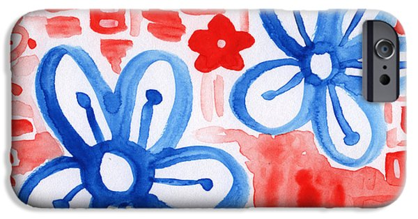 Red White And Blue Mixed Media iPhone Cases - Blue Flowers- floral painting iPhone Case by Linda Woods