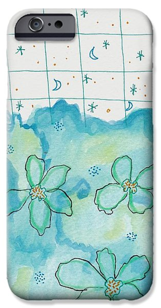 Nature Study Paintings iPhone Cases - Blue Flowers Moon Stars iPhone Case by Rosalina Bojadschijew