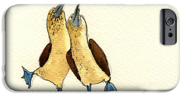 Original Watercolor iPhone Cases - Blue footed boobies iPhone Case by Juan  Bosco