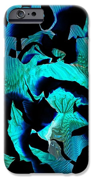 Abstract Digital iPhone Cases - Blue Fragments iPhone Case by David Lane