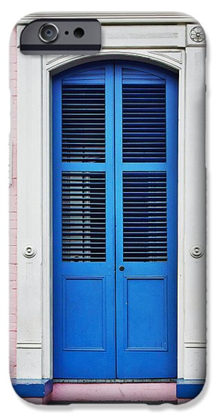 Architectural Elements iPhone Cases - Blue Front Door New Orleans iPhone Case by Christine Till