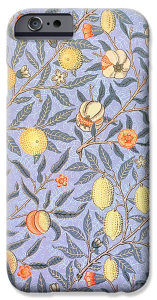 Food And Beverage Tapestries - Textiles iPhone Cases - Blue Fruit iPhone Case by William Morris