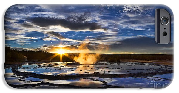 Pm iPhone Cases - Blue Geyser Sunset iPhone Case by Don Hall