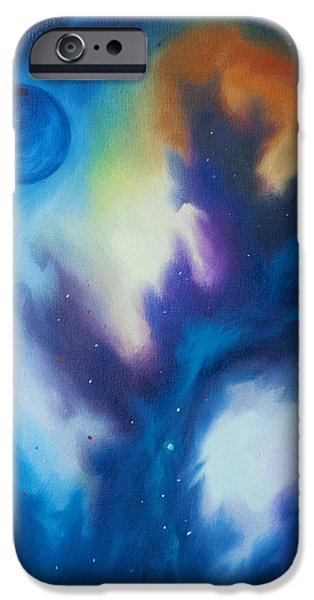 Black Hole Paintings iPhone Cases - Blue Giant iPhone Case by James Christopher Hill