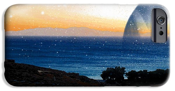 Abstract Expressionism iPhone Cases - Blue Giant Planet Rising from the Sea iPhone Case by Augusta Stylianou