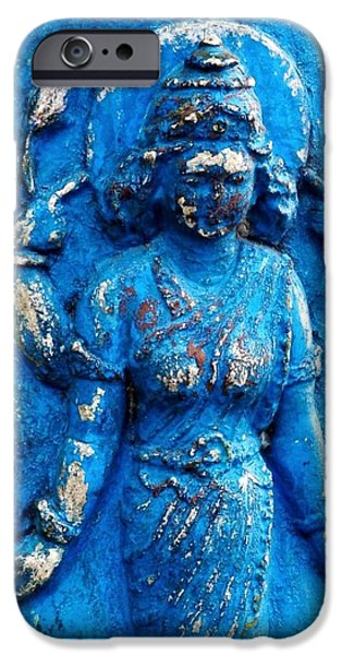 Hindu Goddess iPhone Cases - Blue Goddess iPhone Case by Kim Bemis