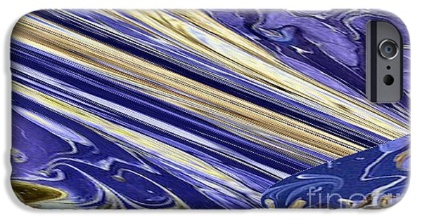 Colorful Abstract Ceramics iPhone Cases - Blue Gold iPhone Case by Gabriele Mueller