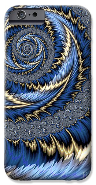 Fractal iPhone Cases - Blue Gold Spiral Abstract iPhone Case by John Edwards