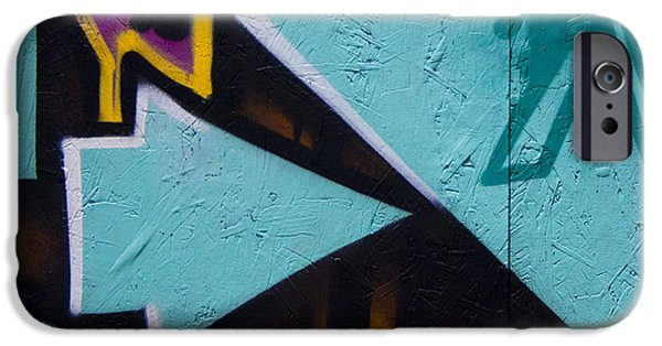 Mural Photographs iPhone Cases - Blue Graffiti Arrow Square iPhone Case by Carol Leigh